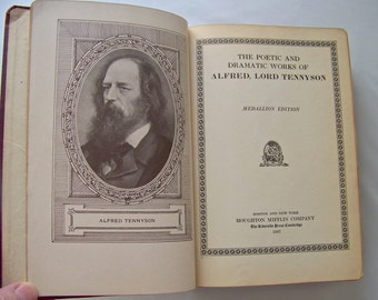 Antique Tennyson's Poetical Works 1927 Houghton Mifflin Co. Leather Poetry Book