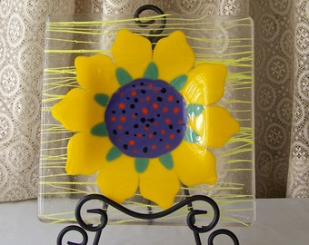 Vintage Art Glass Fusion Plate Yellow Sunflower Fused Glass Serving Plate Wall Hanging  1990s
