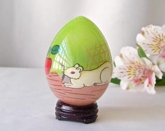 Vintage Glass Egg Églomisé Hand Painted Mouse Easter Egg Gift Oriental Art Vintage 1980s