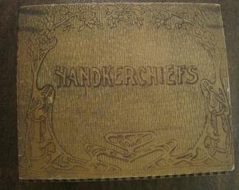 Vintage Wooden Hankie Box with 3 Hankies
