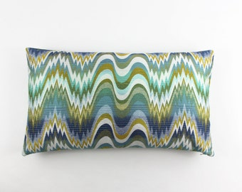 ON SALE Jonathan Adler Acid Palm 14 X 24 Pillow in Surf (Both Sides)