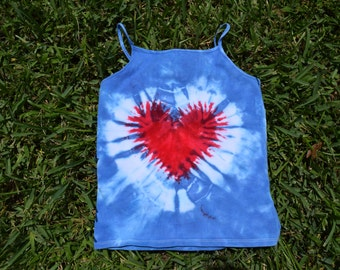 7/8 Medium Girls Tank top in blue with red heart tie dye, tie dye tank top, spaghetti strap tank top, blue tank top, red heart, heart shirt