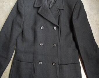 Vtg Black Wool Double Breasted Jacket Coat Cavalry Twill Weave M 8 Jones New York