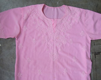 Vtg Handmade Pink Embroidered peasant blouse Size Small to Medium Semi-sheer