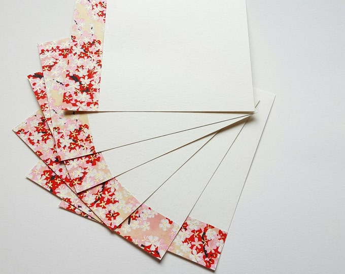 Pink and White Blossoms Note Cards - Set of Six Flat Cards - Handmade Stationery - Lux Note Cards - Japanese Paper