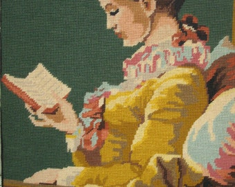 Vintage  Handmade  Needlepoint La Liseuse. Fragonard .Lady Portrait Reproduction 17.5 x 21.5 inches