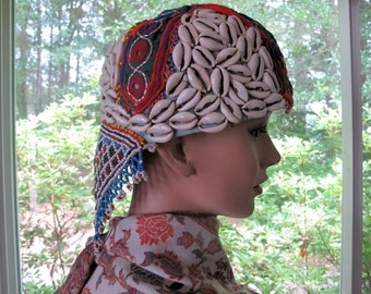 Tribal Nomad Kuchi Hat with Shell, Bead Work, Hand Embroidery, and Mirror Work from Central Asia