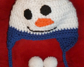 Baby Snowman Hat, Baby Ear Flap Hat, Snowman Earflap Hat - Size 6 Months to Two Years - Blue and White