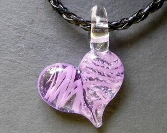 Light Purple Glass Cremation Heart Pendant, for Pets