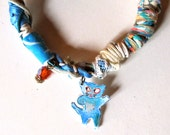 Isabelle Rey Painting Doudou Bracelet - Blue Cat Hippie Chic Bracelet  Assemblage Pendant Finding - Boho Chic