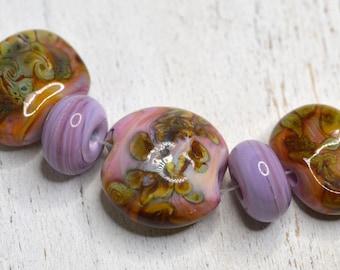 raku and pink lentil focal and spacer lamp work beads with ocean wavy design SRA handmade focal lentil set 82316-7
