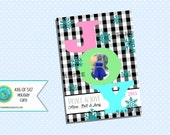 Buffalo Check JOY Christmas Card Pastel Color Snowflakes, pink, mint, turquoise blue, black white