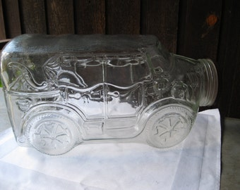 Antique AUTOMOBILE Large Clear Glass Jar Neat Find Collectible Display Lots of Fun Use Ideas Storage-Old Car Show-Kitchen-Man Cave-Wedding