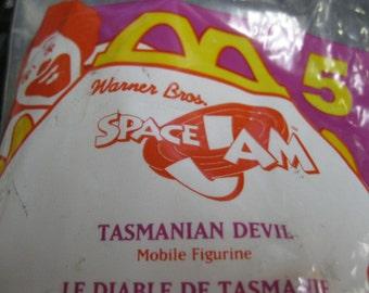 Fun Tasmanian Devil Cartoon Character Vintage Mobile Figurine Toy McDonald's Happy Meal Warner Brothers Space Jam Collectible Orig. Package