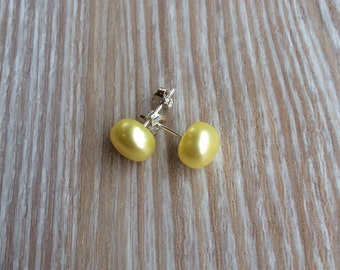 Pearl stud earrings 9mm Lemon Yellow Freshwater Pearls and 925 sterling silver UK made