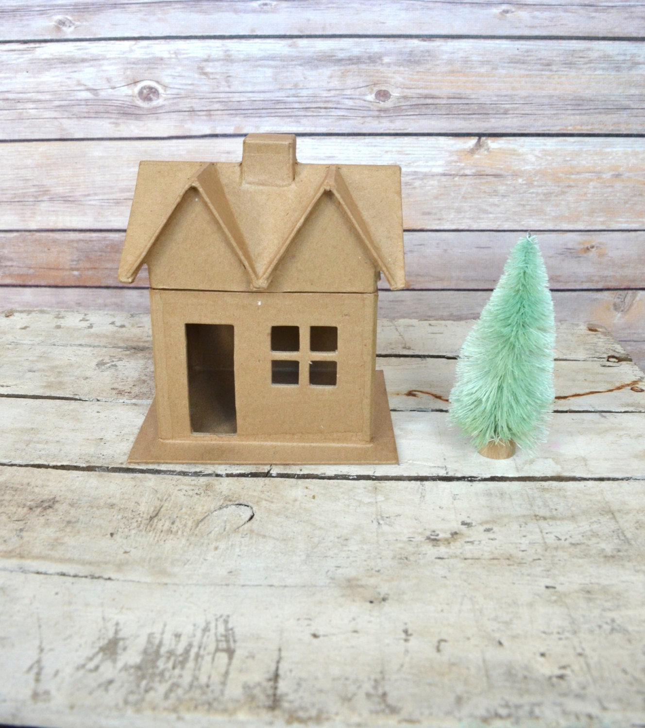 Diy Miniature Doll House Flat Packed Cardboard Kit Mini: Cardboard Mini House Ornament DIY Christmas Ready To Paint