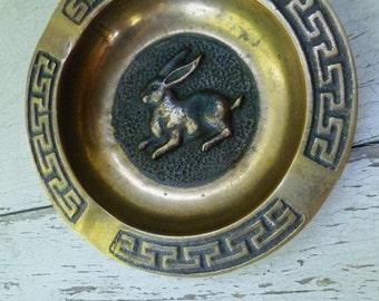 Brass Rabbit Ashtray Pin Trinket Dish. Vintage 1950s. Greek Key Border. Mid Century. Ring Holder. Desk Accessory.