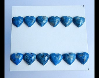 12 PCS Lapis Lazuli Heart Cabochons,10x10x4mm,6.55g