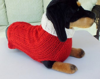 "Dog Sweater Hand Knit Cable Red 14.5"" inches long Merino Wool"