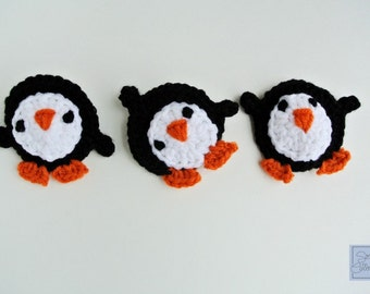 Playful Penguin Crochet Applique Pattern crochet pattern pdf