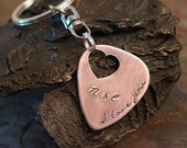 Valentines Day Keychain - I love you more - Personalized Guitar Pick - Custom Copper Guitar Pick