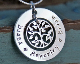 Tree of Life Necklace / My Family / Personalized Mommy Jewelry / Hand Stamped Necklace / Sterling Silver Jewelry (Small Washer)