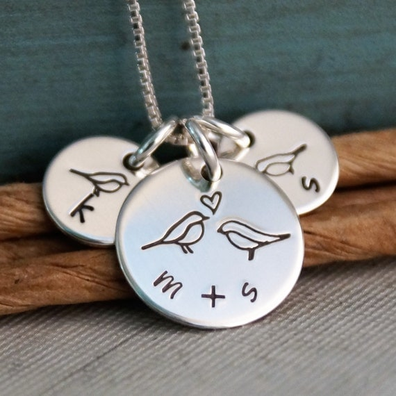Mommy Necklace / Hand Stamped Personalized Sterling Silver Jewelry / Small Tags - All Together (Necklace with two kids initials)