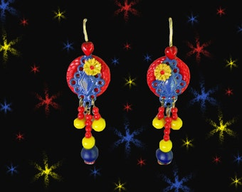 OOAK Retro Chandelier Earrings - Red Blue Yellow - Made with Vintage