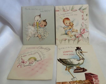 1960s New Baby Greeting Cards - used