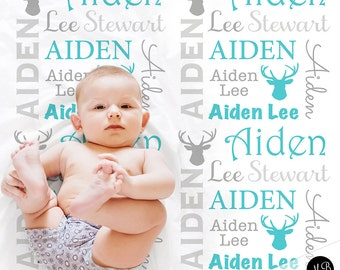 Antler Baby Blanket in Blue and Gray, Boy, personalized blanket, custom blanket, baby blanket, personalized blanket, deer baby blanket