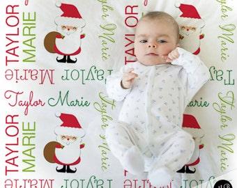 Santa Name Blanket, Christmas Baby Blanket, personalized blanket, keepsake blanket, personalized blanket, choose colors