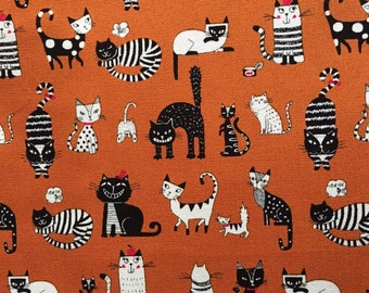 Japanese cotton fabric cat printed Half yard orange colour