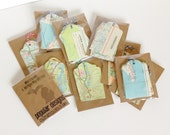 Wholesale 10 sets of Michigan Map Tags   Gift Tags   Birthday Gift Tags   Wedding Favor Gift Tags  Vintage Re-purposed Recycled