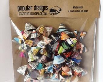 4 Comic Gift Bows / Recycled comic / handmade gift bow
