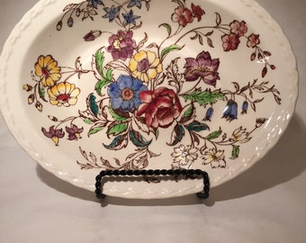 Vernon Kilns May Flower Oval Vegetable Bowl