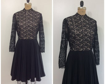 1960s Lace Party Dress 60s Lace Little Black Dress