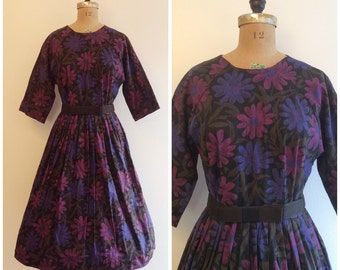 1950s Floral Dress 50s Prple Pink Daisy