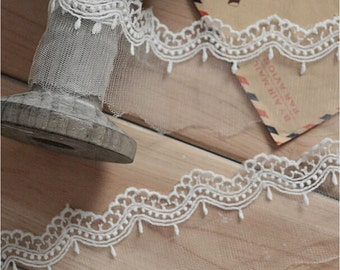 "10 yard 5cm 1.96"" wide ivory mesh tulle gauze fabric embroidered tapes lace trim ribbon 1134 free ship"