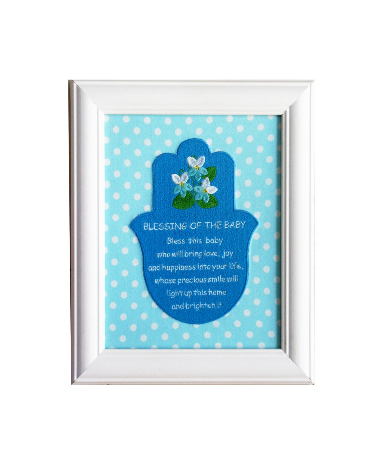 Baby blessing hamsa wall art nursery gift baby room for Room decor gifts