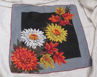 Large Beautiful Black Gray Floral Cotton Hankie Handkerchief