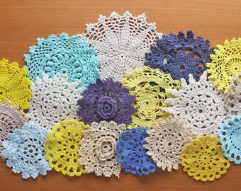 Shades of Blue, Aqua, Yellow, and Beige, 18 Hand Dyed Vintage Crochet Doilies