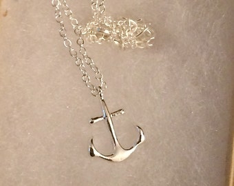 Anchor Necklace Silver Plated Nautical Beach Necklace