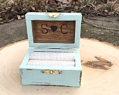 Wedding Ring Box Chest Hand painted Rustic Primitive autumn wedding