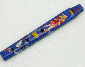 Vintage Carnival Tin Toy Penny Whistle Pennywhistle Made in Japan Blue Background with Colorful Graphics NOS ACTTEAM