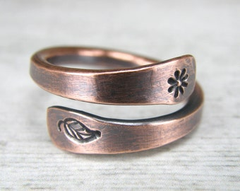 Nature Copper Ring, Flower & Leaf Stamped Copper Ring, Womens Antiqued Copper Wire Ring,