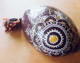 Coconut Trinket Dish | Hand Polished & Painted