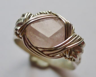 Beautiful Pink Rose Quartz Crystal set in Sterling Silver Wire Wrapped Ring, Sz. 8.5