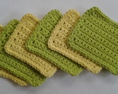 Reusable Crocheted Cotton Sponge, Washcloths, Set of 6