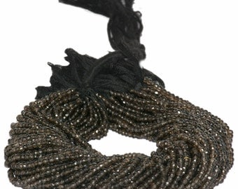 AAA Quality Smoky  Faceted Rondelles 3.5mm to 4mm 14 inch strand.