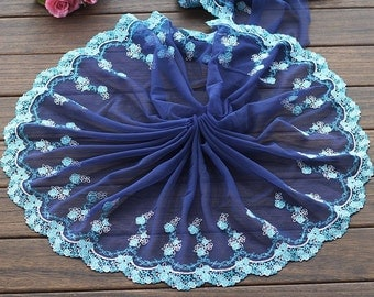 2 Yards Lace Trim Dark Blue Floral Embroidered Tulle Lace 9.44 Inches Wide High Quality